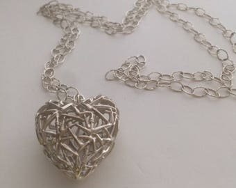 Unusual Heart Sterling Silver Pendant and Chain