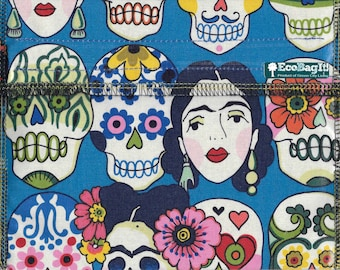 EcoBagIt! DAY of the DEAD XL Keep Fresh reusable sandwich bag| Reusable Snack Bags | Zero Waste | Food Storage Bags | Waterproof