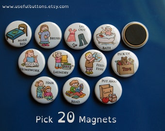 """1"""" size - Pick 20 Small Chore Chart Magnets - Magnet Buttons 1"""""""