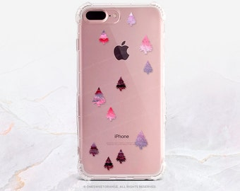 iPhone 8 Case iPhone X Case iPhone 7 Case Christmas Trees Clear GRIP Rubber Case iPhone 7 Plus Clear Case iPhone SE Case Samsung S8 Case H16
