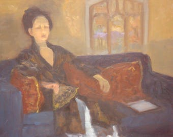 Lady in Repose Oil Painting on Board