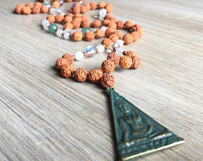 Rudraksha Aventurine Opal Moonstone Mala Beads, 108 Mala, Gemstone, Handmade, Hand-knotted, Meditation, Yoga, Prayer Beads, Chakra