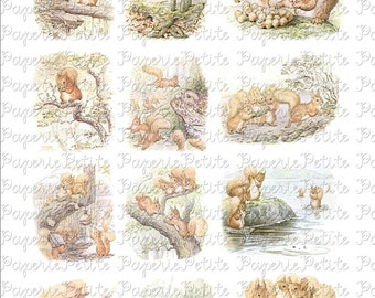 Squirrel Nutkin Beatrix Potter Digital Download Collage Sheet