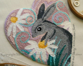Hare and Daisy Punch Needle Embroidery DIGITAL Jpeg and PDF PATTERN Michelle Palmer Painting with Threads