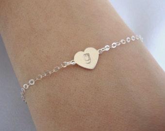 Sterling Silver Hand Stamped Heart Bracelet - Silver Hand Stamped Bracelet - Handmade Jewelry - Bridesmaid Bracelet - Minimalist Jewelry