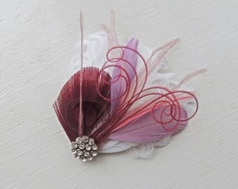 VAL in Burgundy, Lavender, Mauve, White, and Dusty Rose Peacock Feather Hair Clip, Feather Fascinator