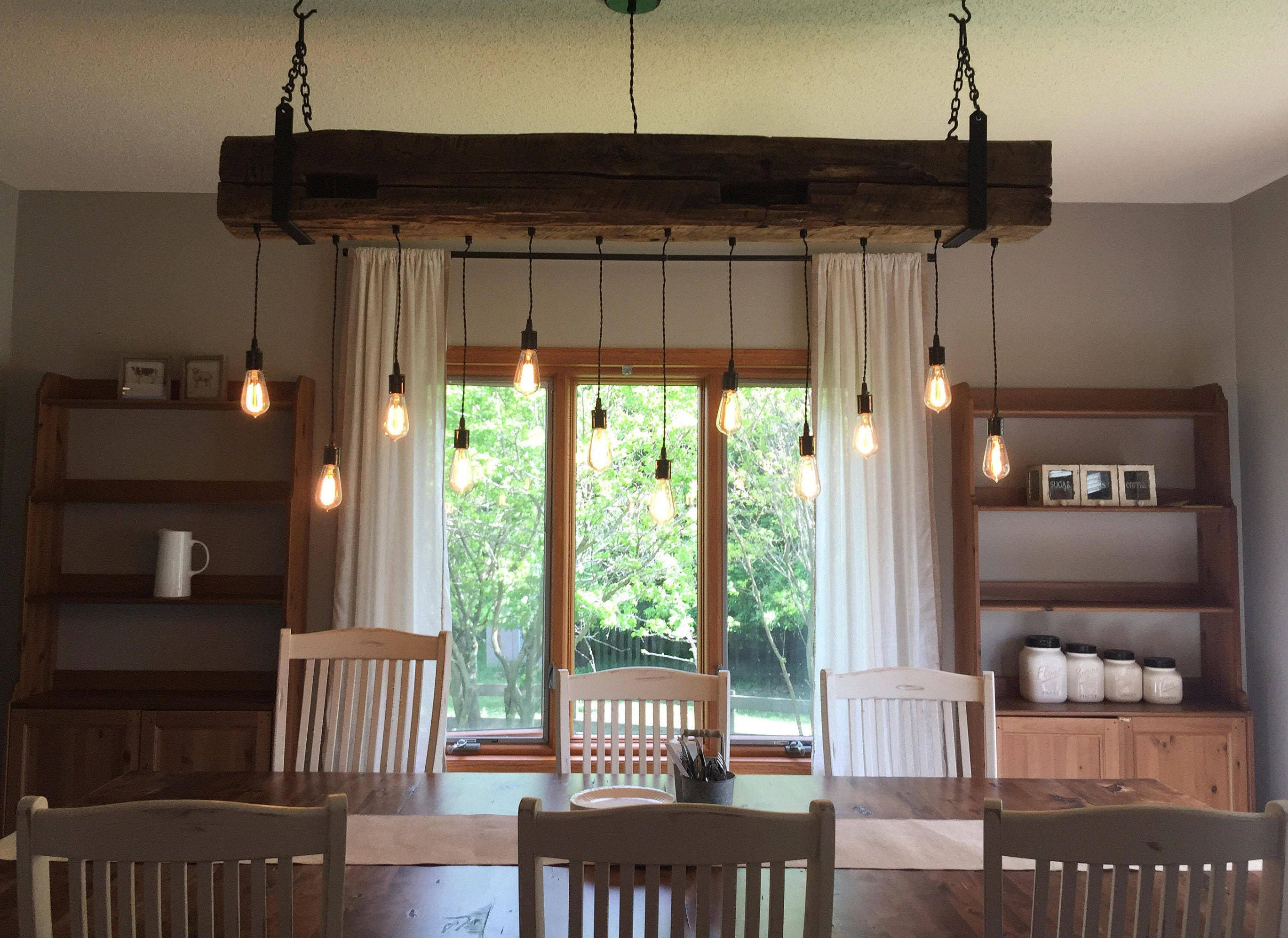 72 Reclaimed Barn Beam Light Fixture with hanging
