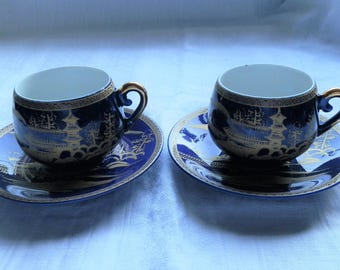 Vintage Japanese Cobalt Blue and Gold Small Tea Cups and Saucers x 2, Made in Japan