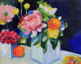 Flower painting modern floral art decor - Print of original painting - modern still life art