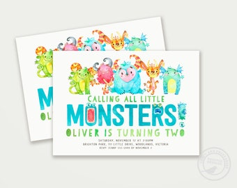 Little Monster Birthday Invitation | First Birthday Monster Party | 2nd  Birthday lil' monster Digital Invitation | Printable 1579