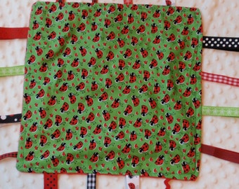 Green Lady Bug Blankie with ribbons