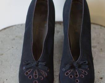 1940s Black Seude  Peep Toe size 9
