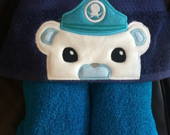 Captain Barnacles inspired hooded towel bath/pool/beach, kids or adult sizes, perfect gift for any occasion