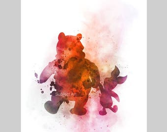 Winnie the Pooh and Piglet inspired ART PRINT illustration, Disney, Wall Art, Home Decor, Nursery, Gift