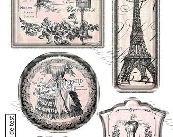 Santa Claus transfers 5 Paris Vintage themed images