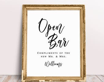 Open Bar Sign, Bar Sign Wedding, Personalized Wedding Sign, Custom Wedding Sign, Open Bar Wedding Sign, Custom Signs, Open Bar, Bar Signage