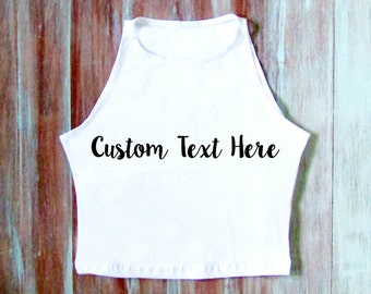 Custom Embroidered Crop Top-Personalized Crop Top-Custom Yoga Top-Custom Clothing-Custom Top
