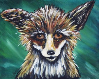 ACEO Print, Red Fox Artist Trading Card, ACEO made from my Original Acrylic Painting, Collectors Miniature Wall Decor, Limited editions Gift