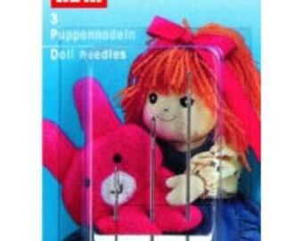 3 doll needles, Prym, 7cm, 9cm, 13cm, metal, silver, 131140