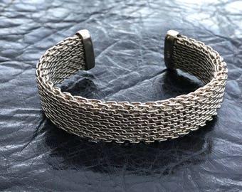 Vintage Chunky Sterling Silver Mesh Cuff Bracelet