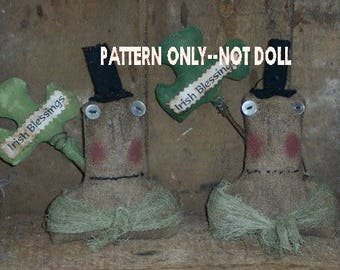 Leprechaun epattern-NOT DoLL Bust ornie Crows Roost Prims 209e Primitive epattern  immediate download
