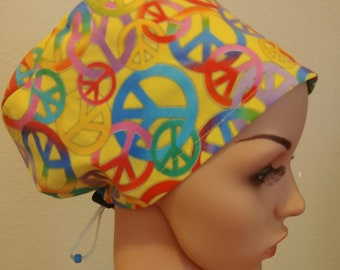 Women's Surgical Cap, Scrub Hat, Chemo Cap, Let There Be Peace