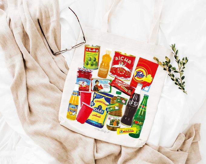 Tote Bag - Cotton ecru - Pop Art - Moroccan Grocery