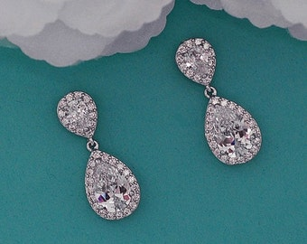 CZ Earrings Zircon Bridal Zirconia Swarovski Crystal Party Dangle Bride Wedding Accessories Jewelry Prom Accessory Brides Weddings Gift 009