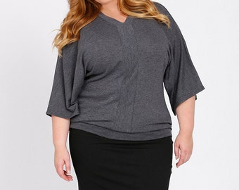 ABBI Plus Size Kimono Sleeve Sweater Curvy Knit Top, Tunic Top in Charcoal Grey Sizes 12-26