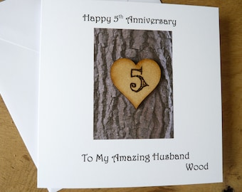5th anniversary card | five years | wood | gift | 5th Wedding anniversary | Card for Husband - Wife - traditional