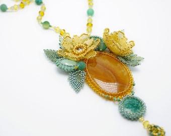 flower statement necklace, onyx beaded exclusive handmade jewelry, seed bead pendant, yellow azure orange green, OOAK beadwork, floren gift