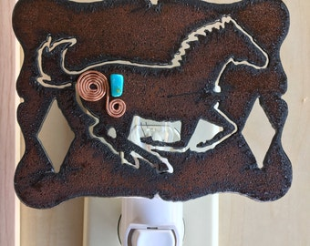 Rustic Metal, Turquoise/Copper Night Light