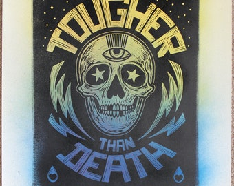 Tougher Than Death - Number 2. Lino print on hand painted Japanese paper.