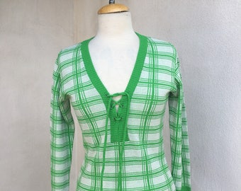 SALE Vintage Mod neon green white v neck lace up Knit top by Marbella Size Small