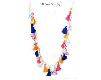 Bohemian multicolor tassel necklace. Tassel jewelry. Ethnic necklace. Gypsy jewels. Hippie necklace. Tiny tassel necklace. Beach necklace.