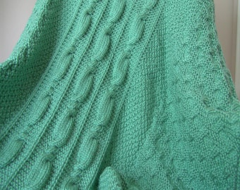 PATTERN - Sage Green with Corkscrew Cable and Dotted Fabric, PDF