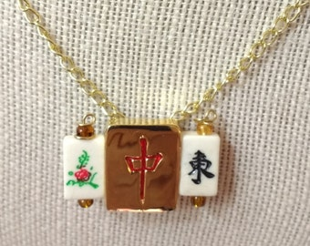 Mahjong Red Dragon / Golden Mahjongg necklace / Converts to Pin / Ma jong jewelry / Mah jong accessory / Lucky Red Dragon / Flower and East