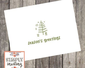 Tiny Tree Holiday Cards, Set of 10, Personalized Greeting Cards, Seasons Greetings, Merry Christmas, Christmas Cards, Happy Holidays, Hygge