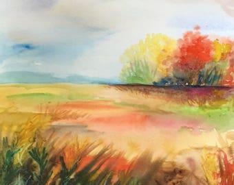 "Watercolor Autumn Landscape, Fall Painting, Home Decor, Watercolor Art 11""x17"""