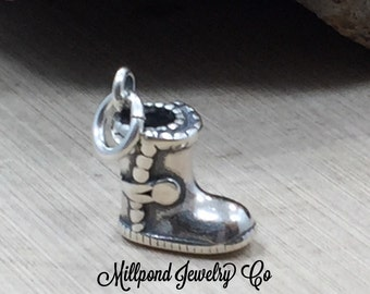 Boot Charm, Boot Pendant, Winter Boot Charm, Winter Boot Pendant, Winter Charm, Sterling Silver Charm