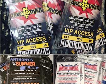 WWE Kids Birthday Party VIP Badge Pass Invitation Lanyards