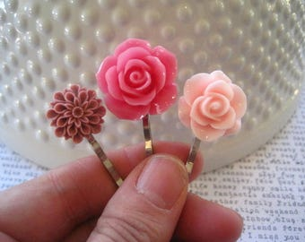 PINK Bobby Pin Set, Flower Hairpins, Wedding Hair Accessory, Prom Hair Accessory, Bridesmaid Gift, Stocking Stuffer, Small Gift