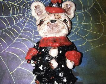 Folk Art Halloween French Bulldog Ornament Doll Vintage Ooak Style