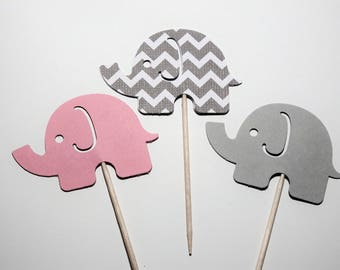 24 Pink and Gray Elephant Standard Cupcake Toppers,Baby Shower,1st Birthday,Gender Reveal,Baby Girl