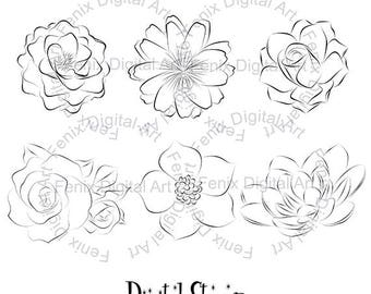 Digital Stamp,Clipart,Line art,Flowers,Flower graphics,Flower stamp,Digi stamp,digistamp,fashion Illustration INSTANT DOWNLOAD
