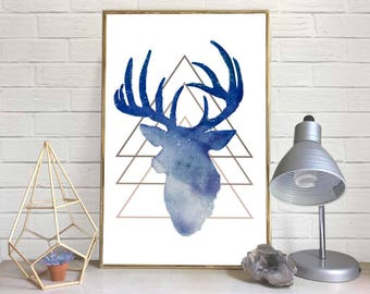 Geometric Deer-Head Watercolor Print (Blue)