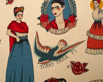 Fabric, Todo Para Ti in Taupe, Alexander Henry, Mexican Artist Frida Portrait, By The Yard