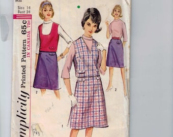 1960s Vintage Sewing Pattern Simplicity 5602 Misses Blouse Skirt Top Two Piece Dress Pockets Separates Size 14 Bust 34 1964 UNCUT