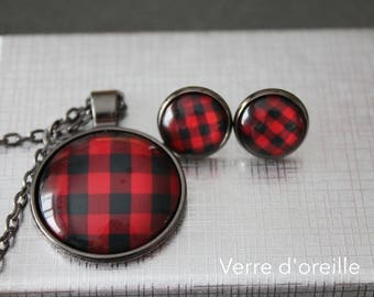 Lumberjack earrings studs and chain kit necklace checked red and black pattern