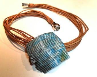 Necklace with Turquoise Raku Pendant